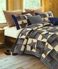 WOODLAND STAR Full Queen QUILT SET : COUNTRY CABIN LODGE 5 POINT BLUE PLAID