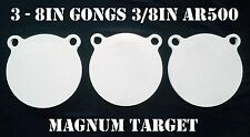 8 Inch AR500 Steel Gongs - 3/8in. Rifle/Pistol Targets - 3pc. Metal Target Set