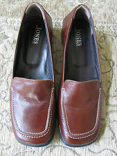 "Brown Leather Jones Low 1"" Heel Square Toe Shoes in Size 6 - ex-display"