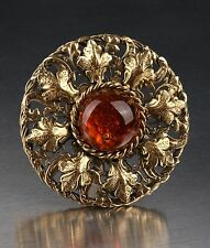 CHANEL LARGE GRIPOIX AMBER CABOCHON BROOCH PENDANT 95A RARE