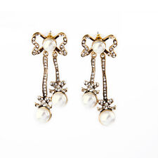 ZARA ELEGANT GOLD BOW RHINESTONES WHITE PEARLS DROP DANGLE EARRINGS – NEW