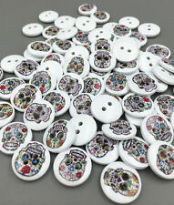 DIY 50X Wooden Buttons Skull pattern sewing scrapbooking decoration 15mm
