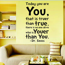 You are You Dr.Seuss Quote Words Wall Decals Sticker Vinyl Mural Decor ukinall