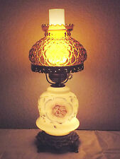GONE WITH THE WIND VINTAGE 3-WAY MILK-GLASS FLORAL DISPLAY HURRICANE LAMP