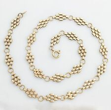 "9ct Gold Brick Panther Pattern Chain Necklace 16"" 41cm Hallmarked 1998"