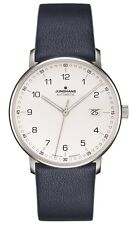 Junghans Form A Automatic Date Matte Silver Dial Blue Leather Strap 027/4735