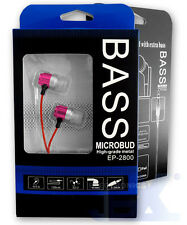 Bass Microbud EP-2800-2 Pink Aluminum Earbuds Earphones Headphones High Quality