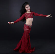 KID's 2pcs set Lace Long Sleeves Blouse Top and Long Skirt Belly Dance Costumes