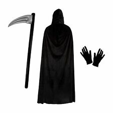 Grim Reaper Halloween Fancy Dress Costume Set (Cape, Scythe & Gloves)