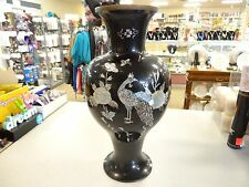 Vintage Black Lacquer brass Vase PEACOCK Mother of Pearl & ABALONE SHELL Inlay