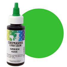 Chefmaster Liquid Candy Color Green 2 oz. Oil Base for use in Chocolate & Icings