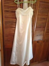 CELAVIE IVORY OFF WHITE SPAGHETTI STRAP SZ SMALL LONG DRESS GOWN LIGHTWEIGHT