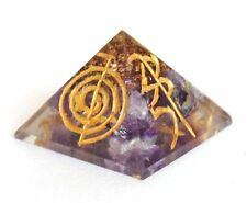 REIKI ENERGY CHARGED & ENGRAVED AMETHYST CRYSTAL ORGONE PYRAMID POWERFUL HEALER