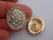 2 crystal buttons rhinestone diamante wedding upholstery wedding gold UK 01