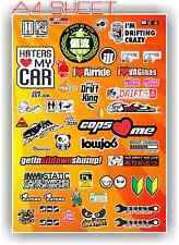 JDM DRIFT RALLY RACE CAR STICKER SET 1/10 1/8 RC CAR SIZE A4 DECAL SHEET 5 BNIP