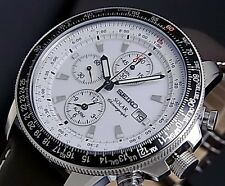 SEIKO MEN'S PILOTS SOLAR ALARM CHRONOGRAPH WATCH SSC013P1 Warranty, Box,RRP:£300