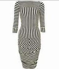 Kate Moss Top shop Liquorice Black White Stripe Dress Body in 10