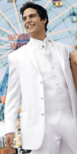36R White Perry Ellis Tuxedo Suit Clearance Package Discount Winter Formal Tux