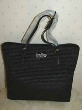 NWT FURLA NEW SHOPPER M EAST WEST ONYX BLACK RATTAN