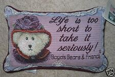 Boyds Bear Word Pillow Life Is Too Short To Take It Seriously Tapestry 1996 12x8