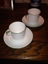 Set Of 2 English Bone China Cups & Saucers. Green Band Edge, Plant Tuscan & Std