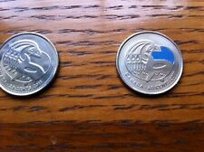 """CANADA, 2011, """"ORCA WHALE  -  COLOR + REGULAR = 2 OF 25 CENTS COINS UNCIRCULATED"""