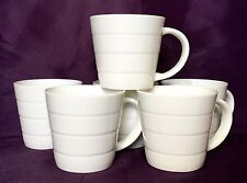 Set of 6 Plain White Bone China Mugs