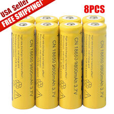 8pcs 18650 3.7V 9800mAh Yellow Li-ion Rechargeable Battery For Torch Flashlight