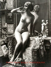 "Nude Woman Vanity Mirror 8.5x11"" Photo Print Vintage Risque Beauty Hand Raised"