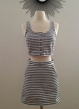 NWT Topshop Moto Striped Navy White Denim A-Line Skirts Size W24