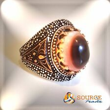 Authentic Yemeni translucent Sulaimani agate on Silver Ring  خاتم سليماني مشف