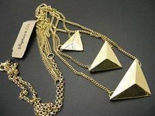 $18 Stephan & Co 3-Tier Layering Necklace Triangle Pyramid Pendants Goldtone