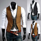 Hot Men's Casual Designed V-neck Slim Fit Buttons Vest Waistcoat Dress 2 Colors
