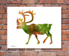 Caribou Abstract Watercolor Painting Wildlife Art Print by Artist DJ Rogers