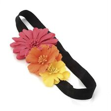 Pink Orange Yellow Triple Flower Stretch Headband Forehead Band Hair Accessories