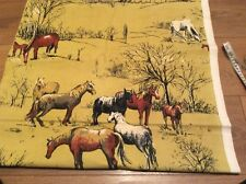 vintage Horse Curtain Cushion Cover Material 50s 60s Retro Fabric