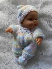 """Doll Clothes Multicolor Hand knitted romper set for baby Berenguer 8"""" fit 7"""" 9in"""