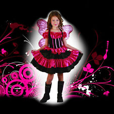Butterfly Costume & Wings Child Pink Fairy Girls Valentine Fancy Dress S:M (8)