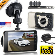 4'' HD 1080P Dual Lens Camera Car DVR Vehicle Video Dash G-Sensor Cam Recorder