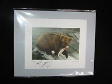Steven Astillero Signed Photograph Grizzly Bear with Fish 2011 Small 8x10 Matted