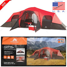 Ozark Trail 10 Person 3-Room Instant Cabin Tent Camping Large Easy Setup Outdoor