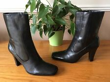 Ladies Nine West Caitrino black leather ankle boots with zip UK 6.5 EU 39.5 NEW
