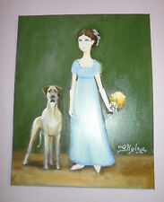 Girl In A Blue Dress & Her Dog Original Oil Painting After Ammi Phillips