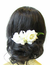 Ivory White Orchid Rose Gypsophila Flower Hair Comb Green Fern Leaf Clip 1588