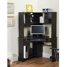 Corner Work Desk With Hutch Office Home Computer Workstation Furniture Black Oak
