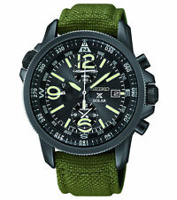 New Seiko SSC295 Solar Chronograph Military Nylon Strap Men's Watch
