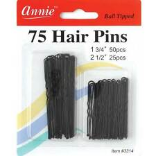 "Annie 75 Hair Pins Ball Tipped Bobby Pin Grip Clips 1 3/4"" & 2 1/2"" Black #3314"