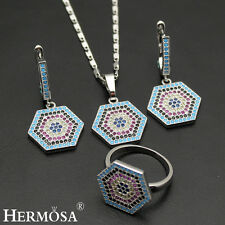 2017 New Hexagon Set. 18k White Gold Sapphire Ruby Necklace Earrings Ring 8#