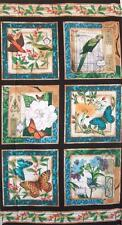 Modern Curiosity Squares Bird Butterfly Flower Timeless Treasures Fabric Panel
