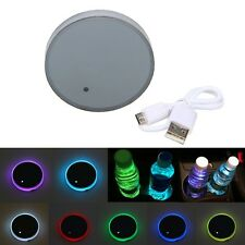 Car RGB Solar LED Cup Drink Bottle Holder Bottom Pad Light Interior Trim Decor